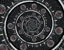 As mãos de pulso de disparo vermelhas pretas de prata modernas do relógio de pulso de disparo da forma torceram à espiral surreal imagem de stock