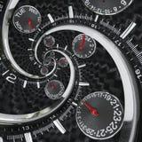 As mãos de pulso de disparo vermelhas pretas de prata modernas do relógio de pulso de disparo da forma torceram à espiral surreal Imagens de Stock Royalty Free