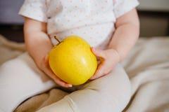As mãos do bebê dois guardam a maçã amarela As mãos da criança e opinião dianteira de fruto fresco Dieta colocada lisa e conceito imagens de stock
