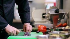 As mãos do cozinheiro chefe masculino cozinham o desbastamento da cebola na cozinha filme