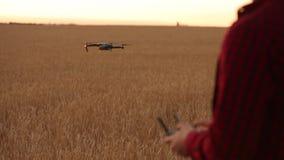 As mãos do fazendeiro guardam o controlador remoto com suas mãos quando o quadcopter voar no fundo O zangão paira atrás do video estoque