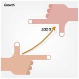 As mãos do homem de negócios com gráfico aumentam no fundo, negócio Imagens de Stock