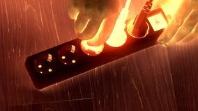 As mãos do homem introduzem o interruptor da extensão das tomadas do fio no assoalho de madeira Efeito de incandescência vídeos de arquivo