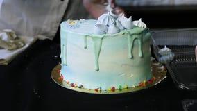 As mãos do pasteleiro reduziram o bolo azul do dia em piees vídeos de arquivo