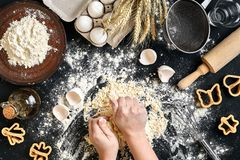 As mãos do ` s da mulher amassam a massa na tabela com farinha, ovos e ingredientes Vista superior Fotografia de Stock Royalty Free