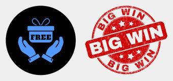 As mãos do vetor dão o ícone e o Grunge do presente selo grande da vitória ilustração do vetor