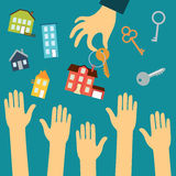 As mãos dos compradores são tiradas à mão de um real ilustração royalty free