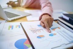 As mãos dos executivos que analisam gerentes da finança da carta encarregam-se Imagens de Stock