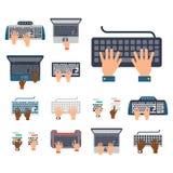 As mãos dos usuários no teclado e no rato da ferramenta de datilografia do trabalho de Internet da informática vector a ilustraçã ilustração do vetor