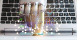 As mãos e os dedos do robô apontam à inteligência artificial da tecnologia robótico do chatbot do conselheiro do botão do portáti foto de stock
