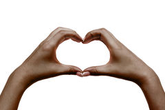 As mãos fêmeas africanas mostram o coração no fundo branco Imagens de Stock Royalty Free
