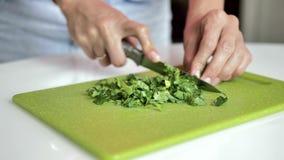 As mãos fêmeas cortaram verdes com a faca do metal na placa de corte verde-clara, close-up video estoque