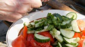 As mãos fêmeas fazem uma salada do pepino do tomate na natureza A mulher corta verdes na salada fora video estoque