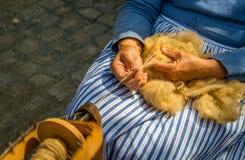 As mãos fêmeas gerenciem lãs cruas dos carneiros em uma roda de giro Foto de Stock Royalty Free