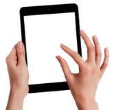 As mãos fêmeas que guardam uma tabuleta tocam no computador com Foto de Stock Royalty Free