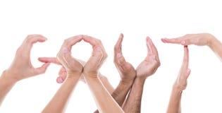 As mãos formam a gota da palavra Fotos de Stock