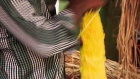 As mãos indianas do homem compõem a festão vermelha amarela da flor vídeos de arquivo