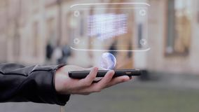 As m?os masculinas mostram servidores do armazenamento da rede do holograma de HUD vídeos de arquivo