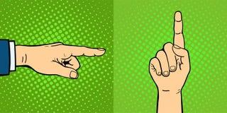 As mãos que mostram a gestos diferentes surdos-mudos o braço humano guardam o estilo do pop art do toque do punho do projeto de u Imagens de Stock