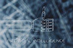 As mãos robóticos que fazem os polegares levantam o gesto, inteligência artificial Imagem de Stock