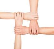 As mãos são fechados, as mãos que guardam-se na unidade Fotografia de Stock Royalty Free