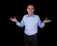 Mãos surpreendidas chocadas do homem de negócio levantadas Imagens de Stock