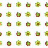 As maçãs coloridas do teste padrão botânico sem emenda florescem o estilo das crianças, tela, scrapbooking, estofando, papel de e Fotografia de Stock