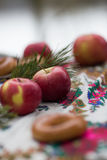 As maçãs vermelhas da foto vertical em uma luz borraram o fundo, fora em uma toalha de mesa bonita Fotografia de Stock Royalty Free