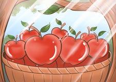 As maçãs vermelhas no papel de parede da floresta ilustração royalty free
