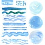 As manchas da aquarela, escovas, acenam Mar azul, oceano Grupo do verão ilustração do vetor