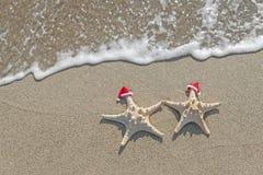 as Mar-estrelas acoplam-se em chapéus de Santa na areia Fotos de Stock