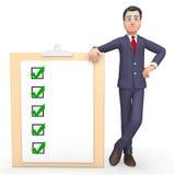As marcas de verificação representam a rendição de Tick Symbol And Agreeing 3d ilustração stock