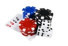 As marcas do póquer, microplaquetas, cardam & cortam Fotografia de Stock