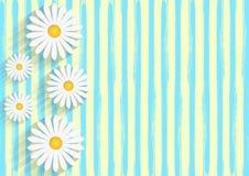 As margaridas brancas no fundo amarelo com as listras azuis da aquarela modelam ilustração stock