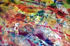 As matiz pasteis da aquarela, pintam o fundo criativo abstrato cor-de-rosa alaranjado azul Fotografia de Stock Royalty Free
