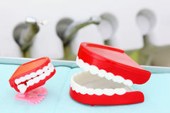 As maxilas estão no fundo de instrumentos dentais Fotografia de Stock