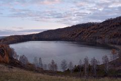 Autumn lake Krugloe Sharypovo district, Krasnoyarsk region, Russia stock images