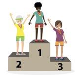 As medalhas da cerimônia de entrega dos prêmios os atletas das mulheres no pódio Vencedores das meninas Povos lisos da ilustração Imagens de Stock