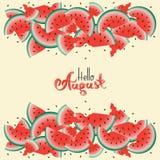 As melancias e a rotulação cursivo fraseiam olá!, agosto ilustração stock