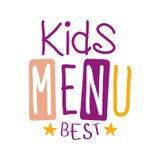 As melhores crianças alimento, menu especial do café para o molde colorido do sinal do Promo das crianças com texto na cor roxa e Foto de Stock