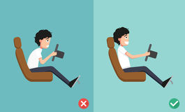 As melhores e posições as mais más para conduzir um carro ilustração stock