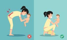 As melhores e posições as mais más para guardar o bebê pequeno ilustração stock