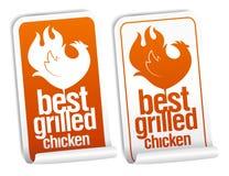 As melhores etiquetas grelhadas da galinha. Imagem de Stock