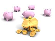 As melhores moedas douradas do dólar do mealheiro e do dinheiro Imagem de Stock Royalty Free