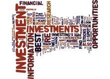 As melhores oportunidades de investimento como manchar um conceito da nuvem da palavra Imagem de Stock