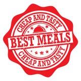 As melhores refeições, barato e saboroso - selo ilustração stock
