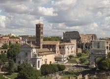 As melhores vistas do fórum do panteão do coliseu de Roma Imagem de Stock Royalty Free