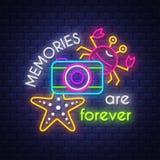 As memórias são para sempre Bandeira de n?on foto de stock