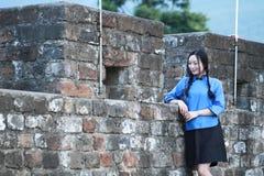 As meninas chinesas asiáticas vestem a roupa do estudante na República da China Foto de Stock Royalty Free
