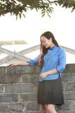 As meninas chinesas asiáticas vestem a roupa do estudante na República da China Imagens de Stock Royalty Free
